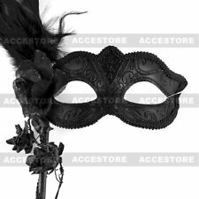ILOVEMASKS Venetian Mardi Gras with Stick & Side Feather Black Masquerade Mask