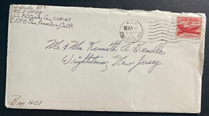 1953 USA First Post Office Philippines Sea Korean War Cover To New Jersey W Lett