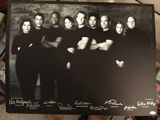 """JSA Star Trek Voyager 19"""" By 25"""" Signed Cast Lithograph Black N White Auto"""