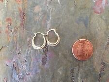 10 KT Yellow Gold Detailed Tiny Baby Sized Hoop Earring PAIR Ribbed New TINY