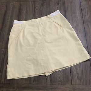 Izod Golf Skirt Womens 14 Yellow Skorts Pockets Athletic