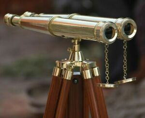 "Nautical Brass 18"" Binocular Leather Antique Telescope With Floor Tripod Stand"