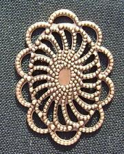2266FD Setting Bezel Charm Link Cab Cabochon Filigree Antiqued Copper Brass 10