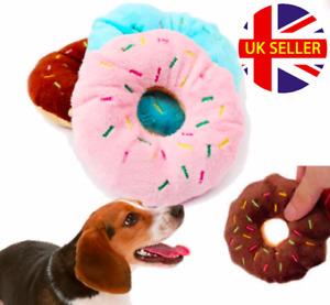 Squeaky Soft Plush Interactive Dog Puppy Chew Comfort Toy - Animal / Doughnut
