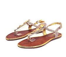 LMK225 T-Strap Thong Toe Gladiator Flats Sandals Women Shoes Gold 7