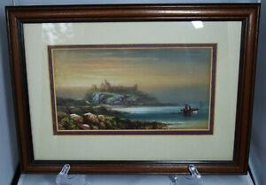 Vintage Atmospheric ORIGINAL WATERCOLOUR of DUNSTANBURGH CASTLE; Framed/Glazed.
