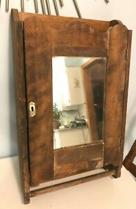 Antique Medicine Cabinet, Wooden with Mirror and Towel Rack