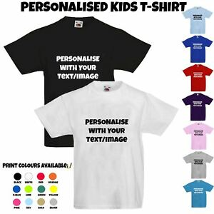 Kids Personalised Custom Print Childrens T-Shirt Photo Text Funny Cool Tee Gift