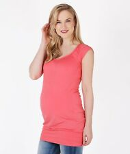 Maternity Belly Support Stretch Top T Shirt Tee Vest Pregnancy Plus Size Wear Coral - Holiday Big Large Size 12 14 16 18 20 20