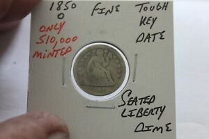 1850-O   ONLY 510,000 MINTED  KEY DATE  FINE  SEATED LIBERTY DIME