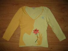 Women's Karen Millen Detailed Thin Multi ¾ Sleeve V Neck Cotton Jumper Top – S