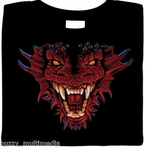 Firey Red Dragon Head Shirt, biker, goth, horror, dark fantasy t, Small - 5X