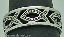 LOVELY ESTATE CHRISTIAN FISH STERLING SILVER CUT OUT BAND RING SZ 7.25