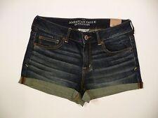 Womens NEW AE American Eagle Denim Rolled Shortie Stretch Jean Shorts Sz 12 NWT!