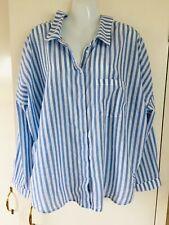 Zara Blue Candy Stripe Cotton Blouse Size XL Open Aspect