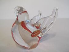 Lovely Made In Murano Art Glass Bird With Red & Gold Swirls ~ Intact Label