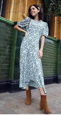 Primark Green/White Floral print Midi maxi Dress hanky hem sz 18 new puff sleeve