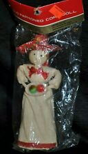 Vtg NIP Western Mexican OLD FASHIONED CORN DOLL LADY Sombrero Hat Apples Tray