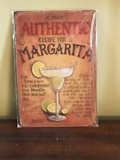"""A True Authentic Recipe For A Margarita"" ~8"" x 12"" Metal Sign Bar Mancave"