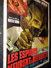 LES ESPIONS MEURENT A BEYROUTH  ! affiche cinema espionnage 1964