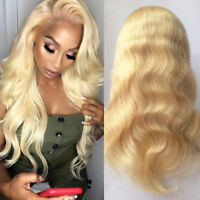 100% Remy Peruvian Human Hair Wig Wavy Lace Front Full Wigs Golden Blonde Long
