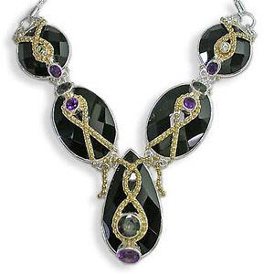 Offerings Sajen SS & Vermeil Agate Necklace w. Mystic Topaz, Amethyst & Peridot
