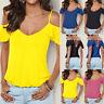 UK Women Cold Shoulder Back Cross T-Shirt Ladies Summer Holiday Top Blouse S-4XL