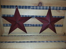 "Set of 2 Primitive 8"" Burgundy Barn Stars - Decorate, Craft, Metal, Star, New"