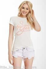 NWT WILDFOX COUTURE Jaclyn's Say Yes Short Sleeve Tee T-Shirt Top Large L White