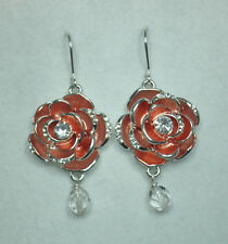 Red Roseand  silver tone crystal drop earrings 5cm