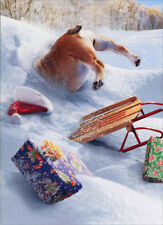 Dog Stuck In Snow Bank Stand Out - Pop Up Funny Bulldog Christmas Card