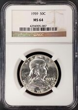 1959 Franklin Silver Half Dollar! Graded Ms 64 by Ngc!