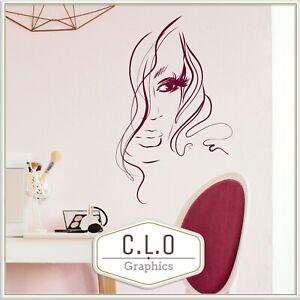 Pretty Vinyl Wall Sticker Art Transfer Beauty Salon Decor Girl Face Hair Decal