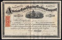 1867 American Hand Pegging Machine Co stock certificate, shoemaking