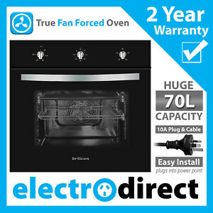 Brilcon 60cm Electric Fan Forced Wall Oven 70L with 10amp Plugs into Power Point