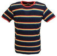 Mens Navy Retro Mod 60s Indie Multi Ringer Rainbow Striped Cotton T Shirt