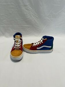 Vans Off The Wall Boys Red/yellow/blue Hightop Shoes~size 3 Y
