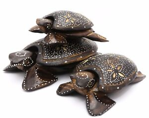Hand-Painted Wood Sea Turtle Figurines with Floral Designs - Set or individual