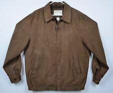 Orvis Men's Sz Medium Suede Style Harrington Full Zip Brown Bomber Jacket