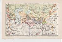 c.1890 RUSSIA EMPIRE CONQUEST in CENTRAL ASIA Antique Map