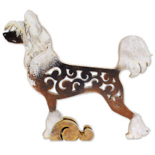 Chinese Crested Dog figurine, dog statue made of wood