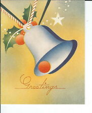 AR-059 - 1930's Christmas Card, Bell Cover, New Old Stock, Vintage Greetings