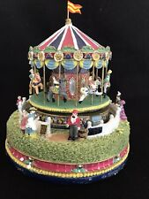 Liberty Falls Carousel Comes To Town Music Box Christmas West Snow Village AH444