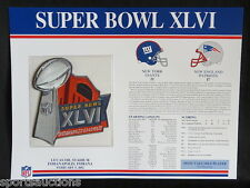 SUPER BOWL 46 Giants Patriots 2012 Willabee Ward OFFICIAL SB XLVI NFL PATCH CARD