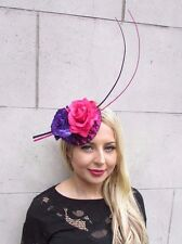 Hot Pink Purple Rose Quill Feather Flower Fascinator Hat Hair Clip Races 3357