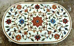 36 x 48 Inches Marble Dinette Table Top Inlay Coffee Table Colorful Flower Art