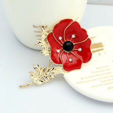 Red Remembrance Poppy Pin Brooch Crystal Badge Gold Flower Jewelry
