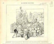 VERSAILLES FETES POUR ANNIVERSAIRE DE HOCHE   1886 GRAVURE ANTIQUE PRINT