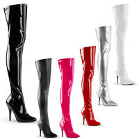 PLEASER - Seduce-3000 Single Sole Thigh High Boots With Side Zipper