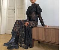 H&M Black Maxi Flounce Lace Dress Sold Out Size: Medium 10/12/14